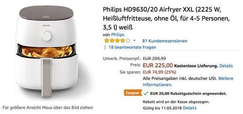Philips HD9630/20 Airfryer XXL Heißluftfritteuse - jetzt 9% billiger
