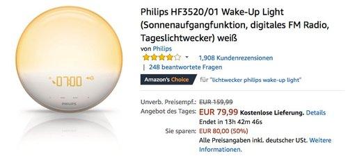 Philips HF3520/01 Wake-Up Light (digitales FM Radio, Tageslichtwecker) weiß - jetzt 15% billiger