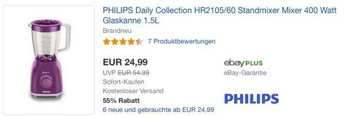 Philips HR2105 Standmixer 1,5 L Glasbehälter, 400 W, ProBlend 4 Technologie, beere - jetzt 40% billiger