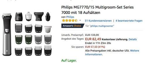 Philips MG7770-15 Multigroom-Set Series 7000 mit 18 Aufsätzen - jetzt 25% billiger
