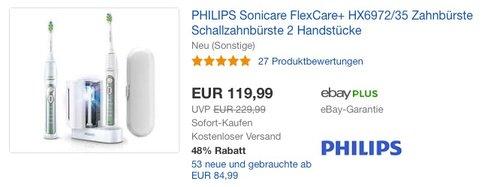PHILIPS Sonicare FlexCare+ HX6972-35 Zahnbürste Schallzahnbürste 2 Handstücke - jetzt 20% billiger