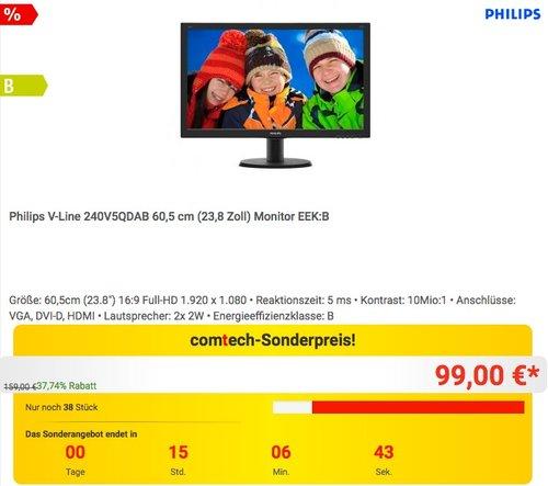 Philips V-Line 240V5QDAB 60,5 cm (23,8 Zoll) Monitor - jetzt 11% billiger