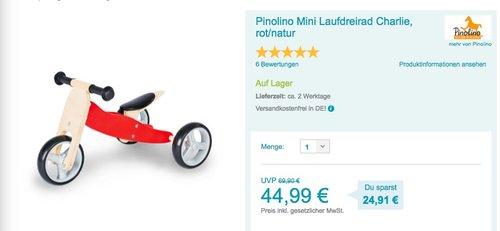 Pinolino Mini Laufdreirad Charlie - jetzt 10% billiger