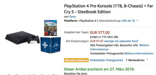 PlayStation 4 Pro Konsole (1TB, B-Chassis) + Far Cry 5 - Steelbook Edition - jetzt 18% billiger
