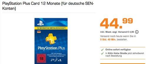 PlayStation Plus Card 12 Monate (für deutsche SEN-Konten) - jetzt 25% billiger