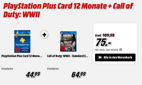 PlayStation Plus Card 12 Monate + Call of Duty: WWII - Standard Edition [PlayStation 4] - jetzt 24% billiger