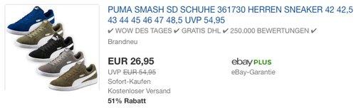 Puma Smash SD Sneaker - jetzt 21% billiger