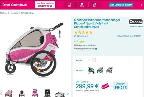 Qeridoo® Kinderfahrradanhänger Kidgoo1 Sport Violett mit Scheibenbremsen - jetzt 24% billiger