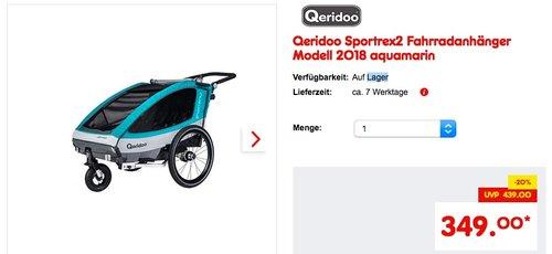 Qeridoo Sportrex2 Fahrradanhänger Modell 2018 aquamarin - jetzt 21% billiger
