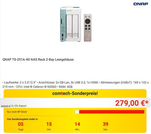 QNAP TS-251A-4G 2 Bay Desktop NAS Gehäuse - jetzt 15% billiger