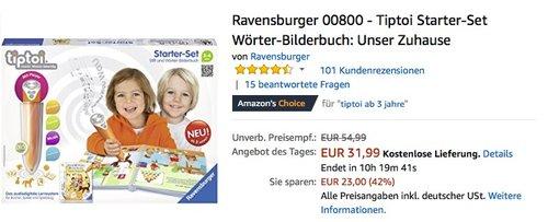 Ravensburger 00800 - Tiptoi Starter-Set Wörter-Bilderbuch: Unser Zuhause - jetzt 17% billiger