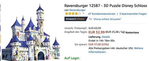 Ravensburger 3D Puzzle Disney Schloss - jetzt 30% billiger