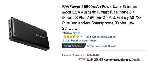 RAVPower 26800mAh Powerbank Externer Akku - jetzt 37% billiger