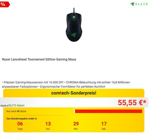 Razer Lancehead Tournament Edition Gaming Maus - jetzt 26% billiger
