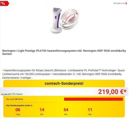 Remington i-Light Prestige IPL6750 Haarentfernungssystem inkl. Remington WDF 5030 - jetzt 12% billiger