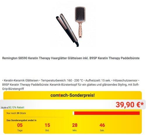 Remington S8590 Keratin Therapy Haarglätter Glätteisen inkl. B95P Keratin Therapy Paddelbürste - jetzt 20% billiger