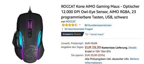 ROCCAT Kone AIMO Gaming Maus schwarz - jetzt 20% billiger