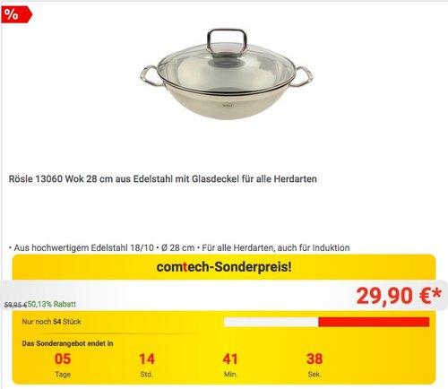 Rösle 13060 Wok 28 cm - jetzt 23% billiger