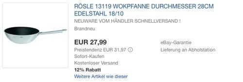 Roesle 13119 Wokpfanne 28 cm Elegance mit Keramikbeschichtung - jetzt 9% billiger
