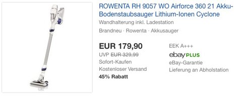 Rowenta RH9057WO Akku-Stielstaubsauger Air Force 360 - jetzt 10% billiger