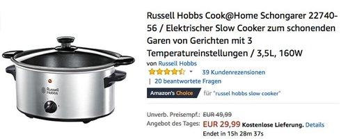 Russell Hobbs Cook@Home Schongarer 22740-56 - jetzt 24% billiger