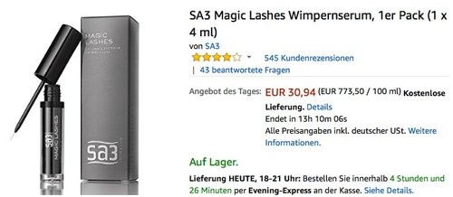 SA3 Magic Lashes Wimpernserum, 1er Pack (1 x 4 ml) - jetzt 11% billiger