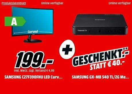 SAMSUNG C27F390FHU LED Curved 27 Zoll Full-HD Monitor mit SAMSUNG GX-MB 540 TL/ZG Media Box LiteDVB-T2 HDReceiver - jetzt 20% billiger
