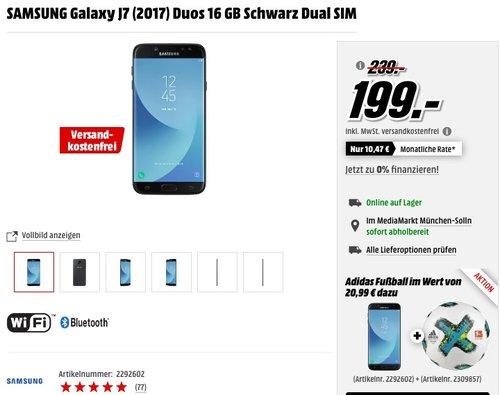 SAMSUNG Galaxy J7 (2017) Duos 16 GB Schwarz Dual SIM - jetzt 10% billiger