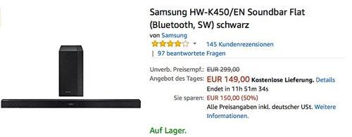 Samsung HW-K450 EN Soundbar Flat - jetzt 29% billiger