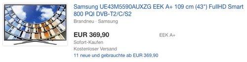Samsung M5590 108 cm (43 Zoll) Fernseher - jetzt 7% billiger