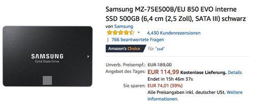 Samsung MZ-75E500B 850 EVO interne SSD 500GB Festplatte - jetzt 9% billiger