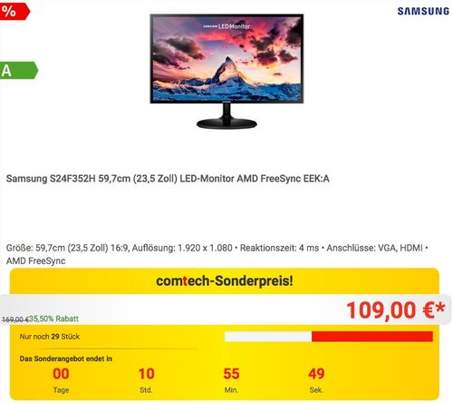 Samsung S24F352H 59,7cm (23,5 Zoll) LED-Monitor - jetzt 22% billiger