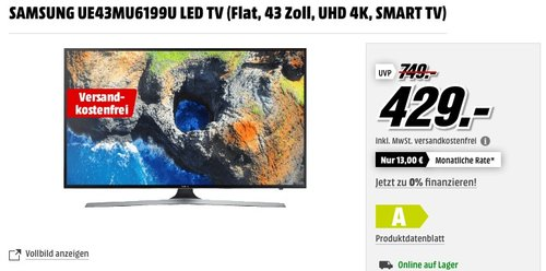 SAMSUNG UE43MU6199U LED TV (Flat, 43 Zoll, UHD 4K, SMART TV) - jetzt 11% billiger