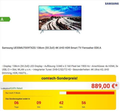 Samsung UE55MU7009TXZG 138cm (55 Zoll) 4K UHD HDR Smart TV - jetzt 6% billiger