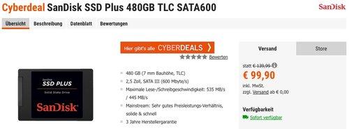 SanDisk SSD PLUS 240GB TLC SATA600 2,5 Zoll Interne SSD Festplatte - jetzt 9% billiger