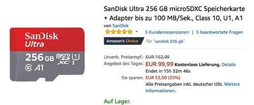 SanDisk Ultra 256 GB microSDXC Speicherkarte + Adapter - jetzt 14% billiger