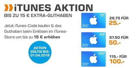 Saturn: 15% Extra-Guthaben beim Kauf von iTunes-Geschenkkarte 25€, 50€ oder 100€ bis 01.04.18 - jetzt 13% billiger