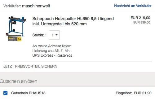Scheppach Holzspalter HL650 - jetzt 15% billiger
