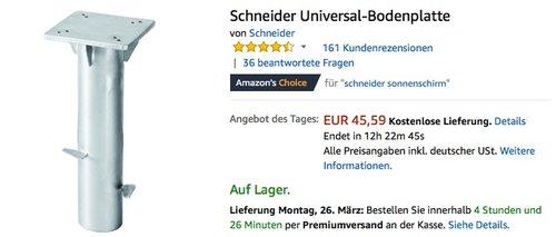 Schneider Universal-Bodenplatte - jetzt 24% billiger