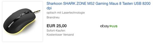 Sharkoon Shark Zone M52 Gaming Maus - jetzt 32% billiger