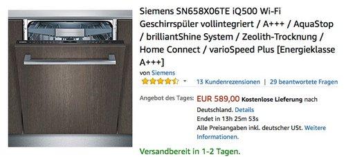 Siemens SN658X06TE iQ500 Wi-Fi Geschirrspüler vollintegriert - jetzt 8% billiger