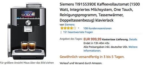 Siemens TI915539DE Kaffeevollautomat (1500 Watt, Integriertes Milchsystem, One Touch, Reinigungsprogramm, Tassenwärmer, Doppeltassenbezug) - jetzt 14% billiger