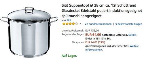 Silit Suppentopf Ø 28 cm ca. 12l - jetzt 32% billiger