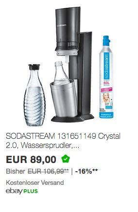SODASTREAM 131651149 Crystal 2.0 Wassersprudler Titan - jetzt 24% billiger