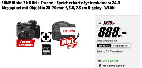 Sony Alpha 7KB Systemkamera Kit - jetzt 11% billiger