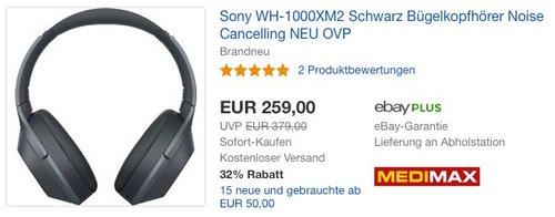 Sony Kabelloser High-Resolution WH-1000XM2 Kopfhörer schwarz - jetzt 19% billiger