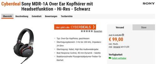Sony MDR-1A High Resolution Kopfhörer - jetzt 24% billiger
