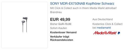 SONY MDR-EX750 Kopfhörer Schwarz - jetzt 38% billiger