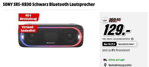 SONY SRS-XB30 Bluetooth Lautsprecher Schwarz - jetzt 10% billiger