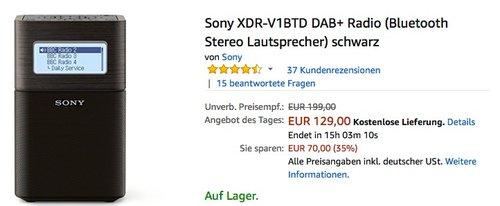 Sony XDR-V1BTD DAB+ Radio (Bluetooth Stereo Lautsprecher) schwarz - jetzt 22% billiger